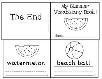 Summer Vocabulary Writing Practice Mini-book Reader