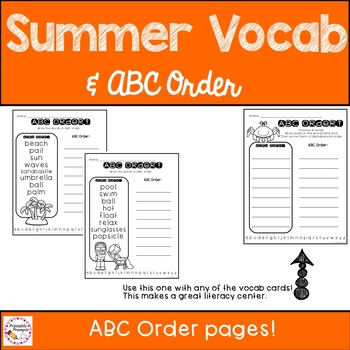 Summer Vocabulary and Alphabetical Order