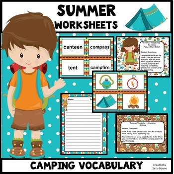 Summer Vocabulary and Worksheets-Camping Theme
