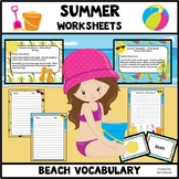 Summer Vocabulary and Worksheets-Beach Theme