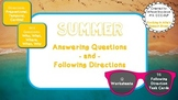 Summer WH Questions & Following Directions Speech (12 Worksheets, 96 Task Cards)
