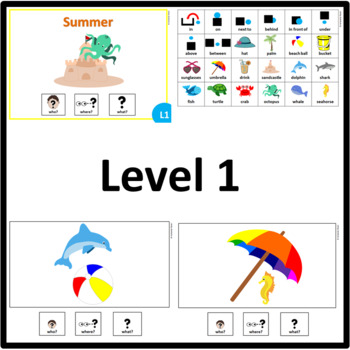 Summer WHO, WHERE, WHAT? Adapted book preposition Level 1, Level 2 and Level 3