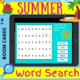 Summer WORD SEARCH - Boom Cards Distance Learning NO PRINT
