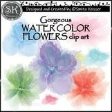 Summer Watercolor Flowers Clip Art, Pastel Colors (Smita Keisser Clip Art)