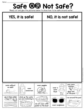 Summer Water Safety Sort - First Grade & Kindergarten