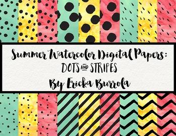 Watercolor Digital Papers: Dots & Stripes (Set of 18)