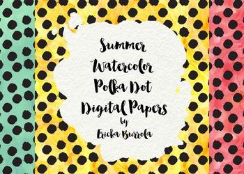 Watercolor Polka Dot Digital Papers (Set of 3)
