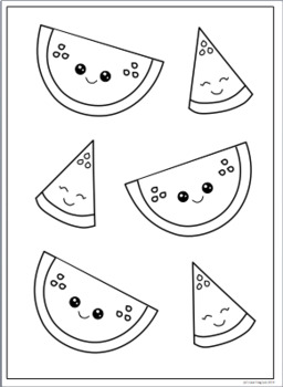 Summer Watermelon Coloring Page and Clip Art