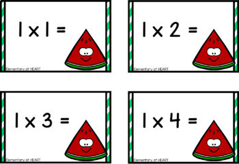 Summer Watermelon Multiplication Flash Cards- (Third and Fourth)