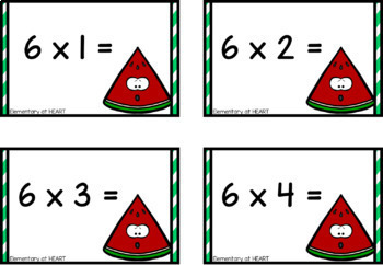 Watermelon Multiplication Flash Cards- (Third and Fourth)