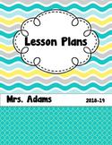 Summer Waves Editable Teacher  Binder / Lesson Planner 2018-2019