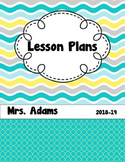 Summer Waves Editable Teacher  Binder / Lesson Planner 2018-2019