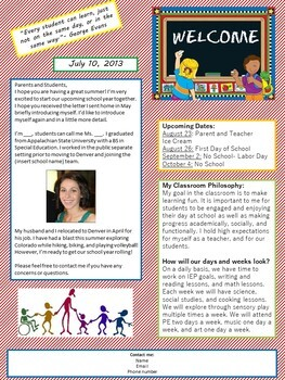 Variety of Summer Welcome Newsletter to Parents