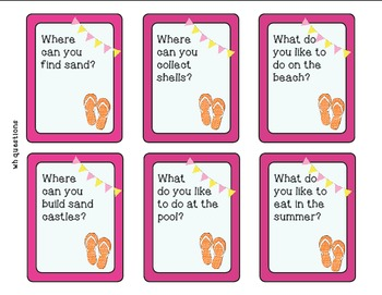 Summer Wh Question Task Cards - Kindergarten {common core aligned}