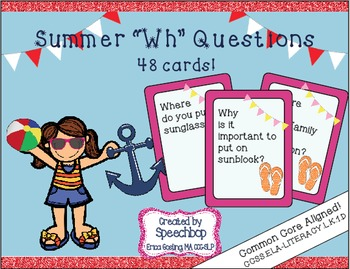 Summer Wh Question Task Cards - Kindergarten {common core