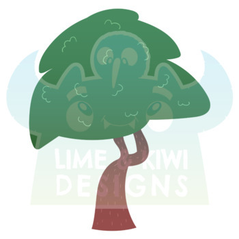 Summer Woodland Trees Clipart, Instant Download Vector Art, Commercial Use Clip