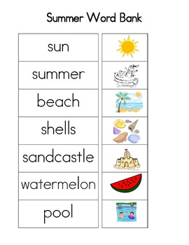 Summer Word Bank