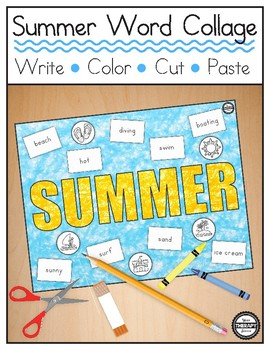 Summer Word Collage - Literacy, Handwriting, Fine Motor Skills