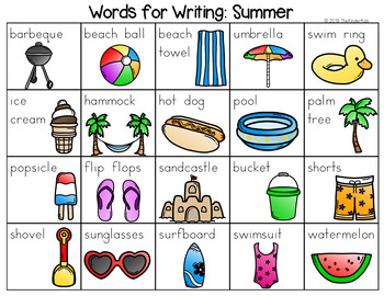 summer word list writing center by the kinder kids tpt