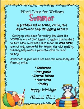 Summer Word List for Writers