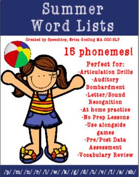 Summer Word Lists
