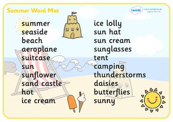 Summer Word Mat (Text Version)