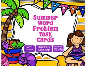 Summer Word Problem Task Cards & Game Board (K-2)