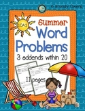 Summer Word Problems: 3 Addends Within 20