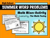 Summer Word Problems - Math Mixer Activity - High School