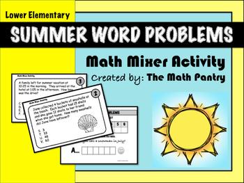 Summer Word Problems - Math Mixer Activity - Lower Elementary