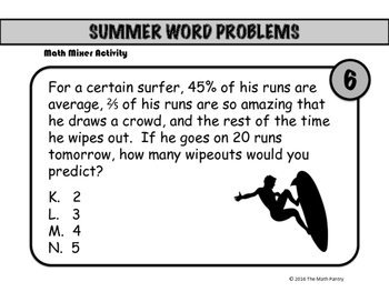 Summer Word Problems - Math Mixer Activity - Middle School
