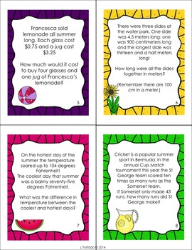 Summer Word Problems - basic operation practice grades 3 - 4