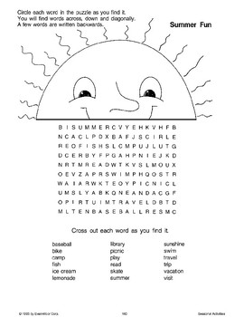 Summer Word Puzzles