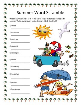 Summer Word Scramble- 10 Words