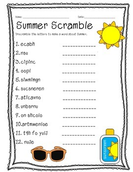 Summer Word Scramble