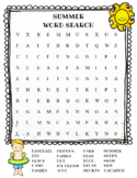 Summer Word Search (color and BW versions)