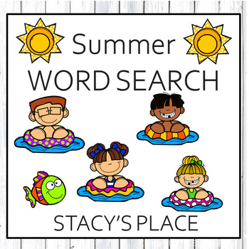English Summer Word Search Puzzle