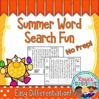 Summer Word Search Fun~ Easy Differentiation