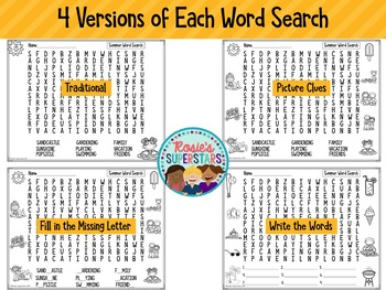 Summer Word Search Puzzles with Easy Differentiation