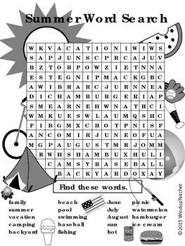 Summer Word Search  *HARD