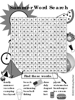 Summer Word Search  *HARD