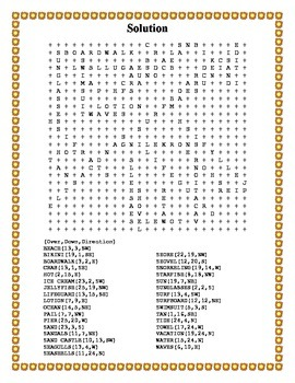 Summer Word Search- Harder 32 Words