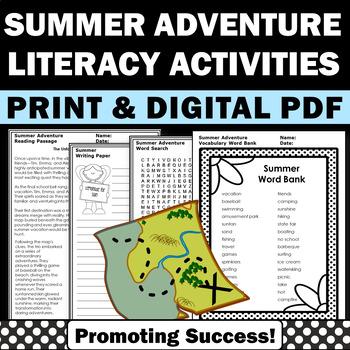 Summer School Activities, Word Search & Summer Writing Worksheets