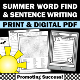 Summer Packet with Summer Word Search, Sentence Writing & Summer Writing Paper