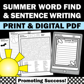 Summer Word Search Worksheets & Teaching Resources | TpT
