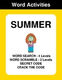 Summer - Word Search Puzzle, Word Scramble,  Secret Code,  Crack the Code