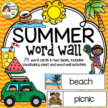 summer word wall 75 word cards vocabulary list worksheets tpt