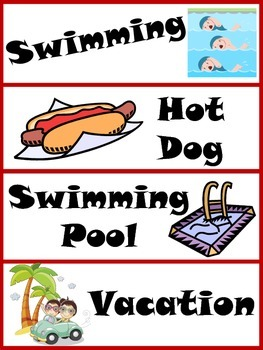 Summer Word Wall Cards with Illustrations