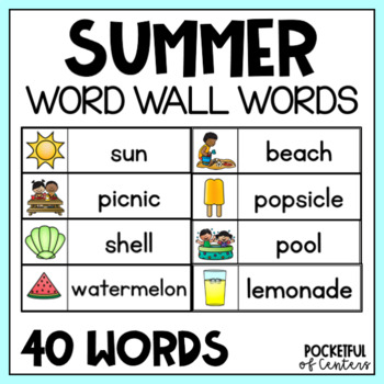 summer word wall words free by pocketful of centers tpt