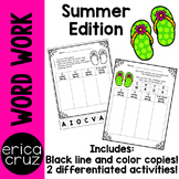 Summer Word Work and Literacy Center Activity